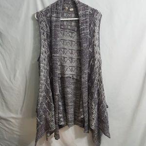 Anthropologie Moth draped sleeveless cardigan gray